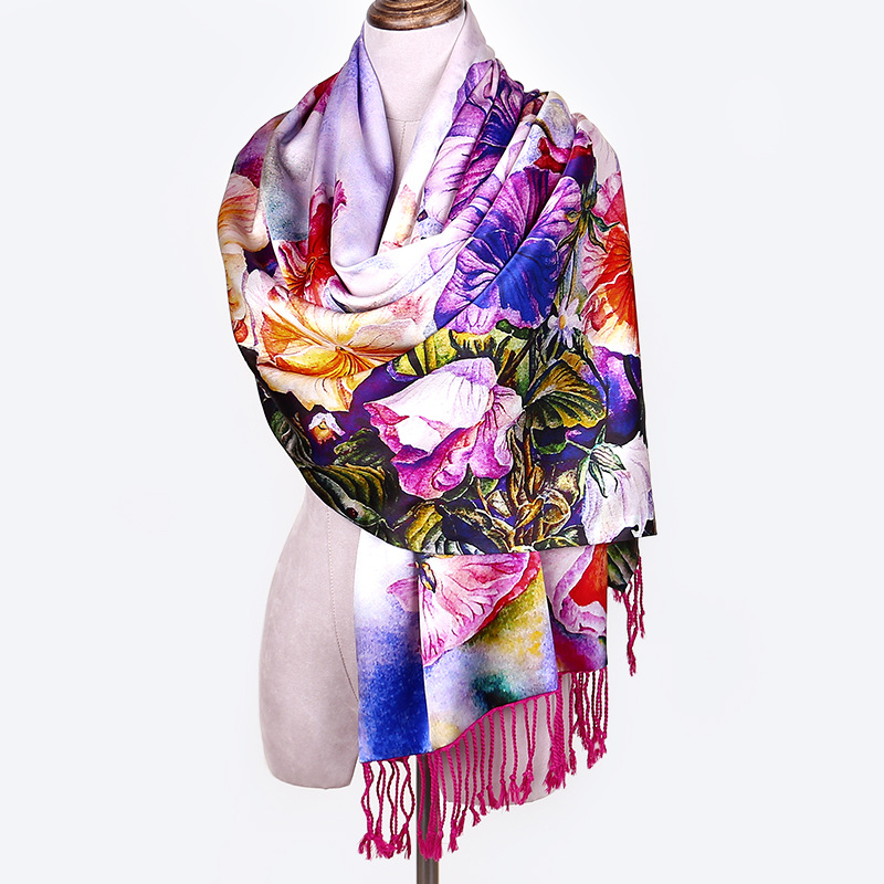 HR048 New Fashion Double-layer Silk Velvet Shawl Tassels Scarf Extra Long Scarves Women 2018 Winter Accesories Ladies Wraps silk