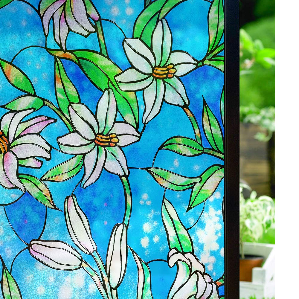 3D Laser Etched Decorative Static Glass Window Film PVC Vinyl Frosted Privacy