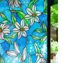 Lily Window Film Decorative Privacy Stained Glass Frosting No Glue Static Cling Tinted Raamfolie