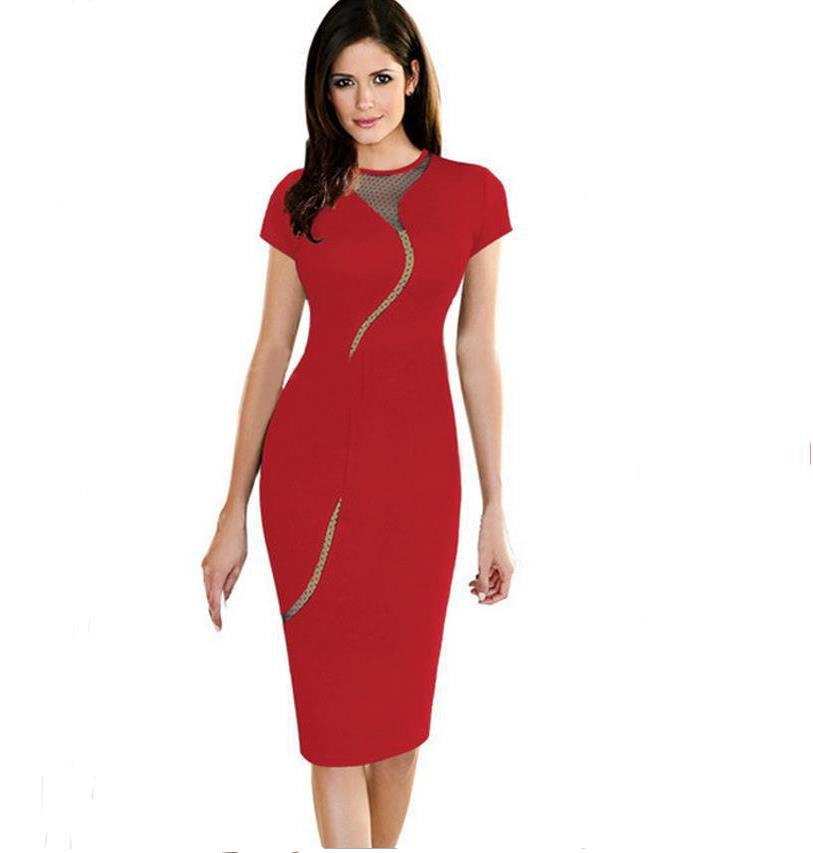 258a0d13a96 Sexy Slim Fashion Back Full Zip dress Women Elegant mesh Collar Rockabilly  S XXL Short Sleeve Career Zipper Pencil Vintage Dress