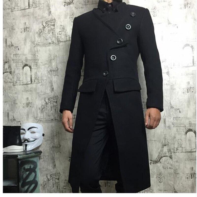 Hot 2018 Winter Coat Men Hairstylist Slim Wool Blend Coats Oversize Long Red Trench Coat Outwear Wool Coat men clothes