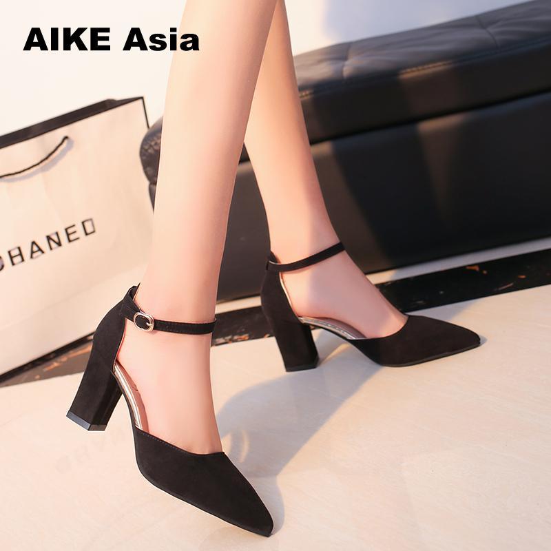 2019 Summer Women Fashion High Heel Shoes Comfortable Flock Buckle Footwear Women Pumps Female Sandals Party Wedding Shoes