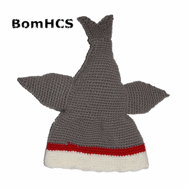 BomHCS Novetly Shark Hat 100% Handmade Knit Animal Beanie for March Party Gift