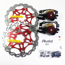 Mtb Bike Brake Caliper AVID BB7 Bicycle Line Pulling Disc Brake With Brake Rotors avid bb7 mtb mountain bike mechanical disc brakes calipers bicycle parts 1 pair 2pcs free shipping