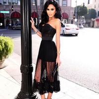 New Coming Ladies HL Bandage Dress Strapless Ball Gown Mid calf Dress Off the Shoulder Sexy Party Club Dress