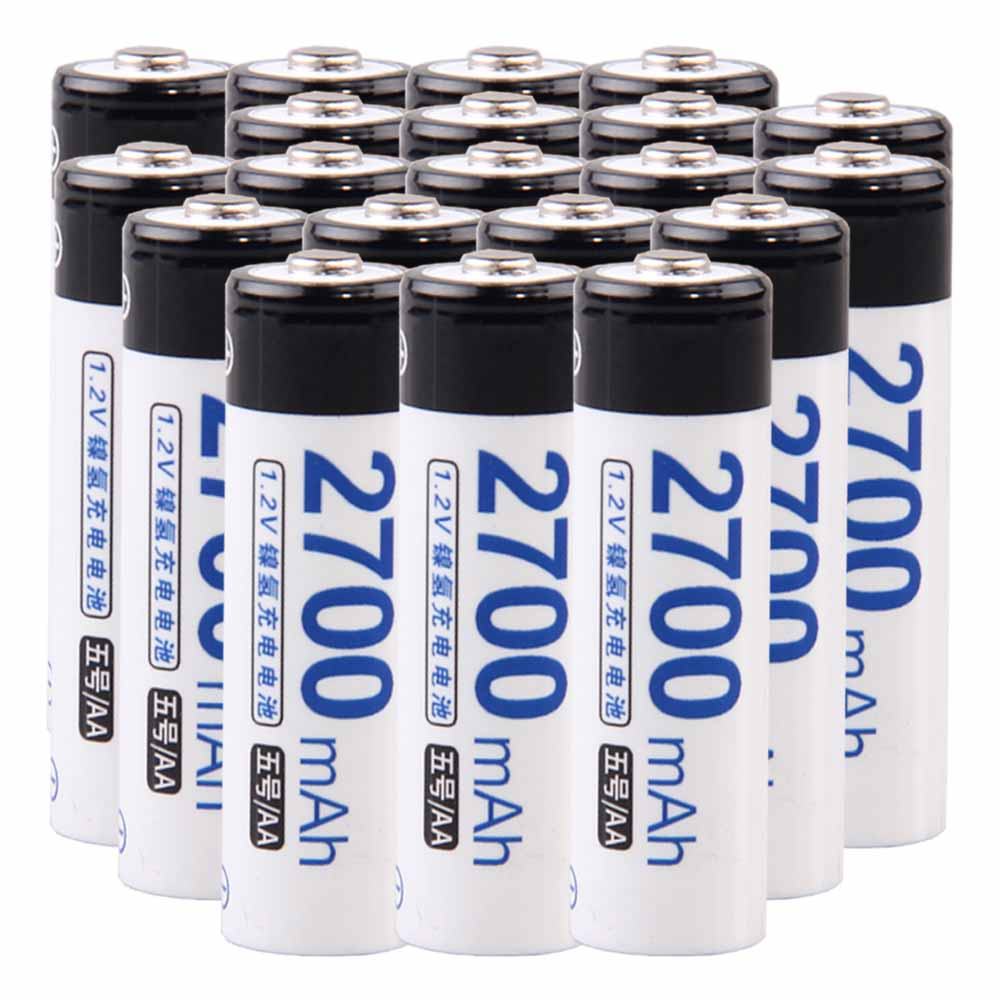 Lowest price 20 piece AA battery 1.2v batteries rechargeable 2700mAh nimh battery for power tools akkumulator