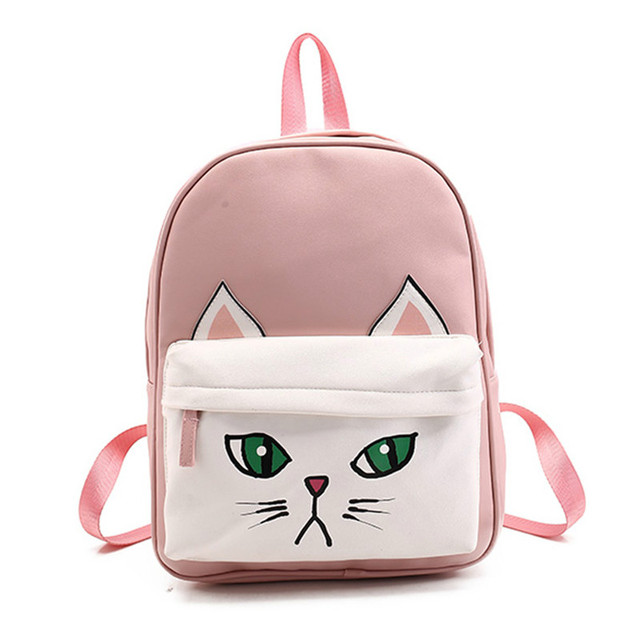 010cc6b8b9 Lovely Animal PU Leather Backpacks Cute Panda Cat Bear 3D Women Shoulder  Bags School Bags for