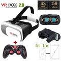 Caixa 2.0 vr vr capacete óculos de realidade virtual 3d google papelão versão fone de ouvido para 4.0-6.0 de polegada de telefone inteligente iphone + gamepad