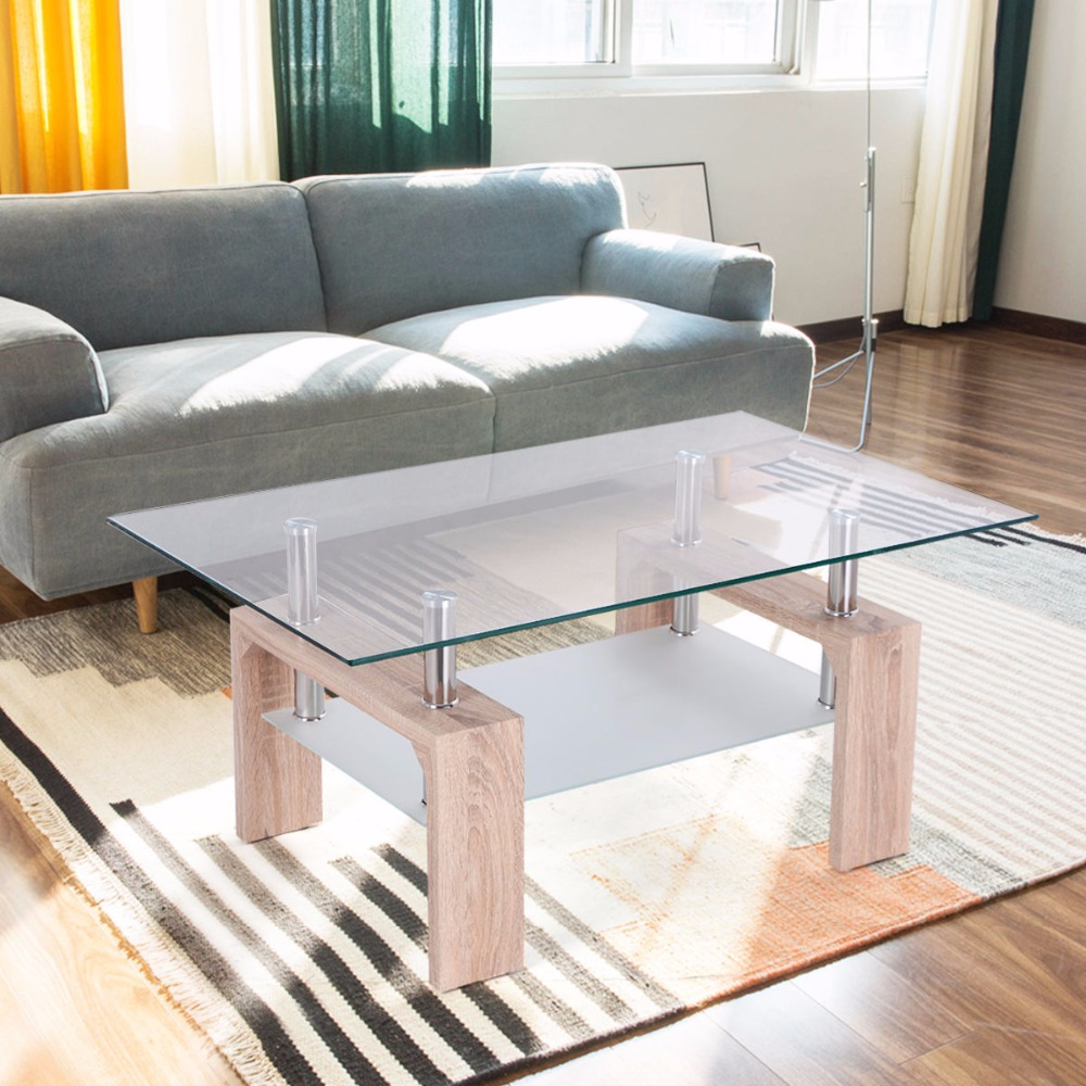 Goplus Rectangular Glass Coffee Table With Storage Shelf