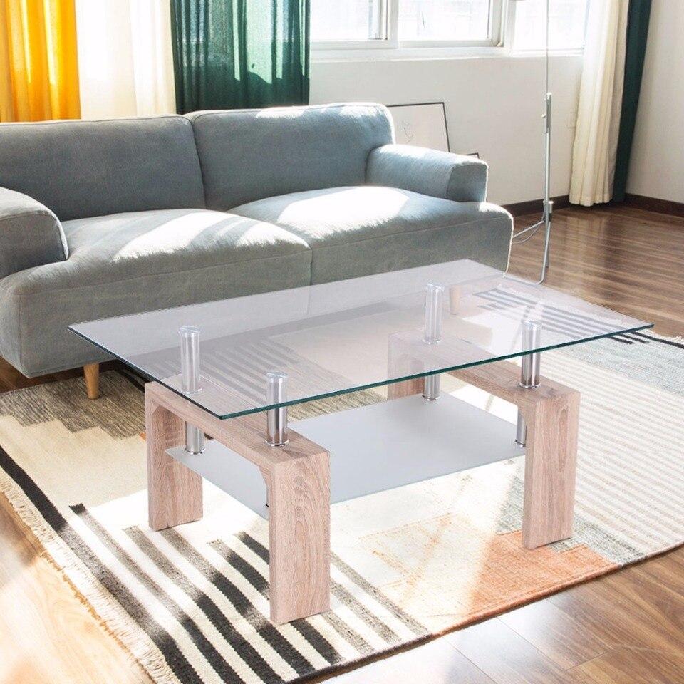 - Goplus Rectangular Glass Coffee Table With Storage Shelf Modern