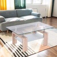 Goplus Rectangular Glass Coffee Table With Storage Shelf Modern Wood Legs Side Coffee Table Living Room