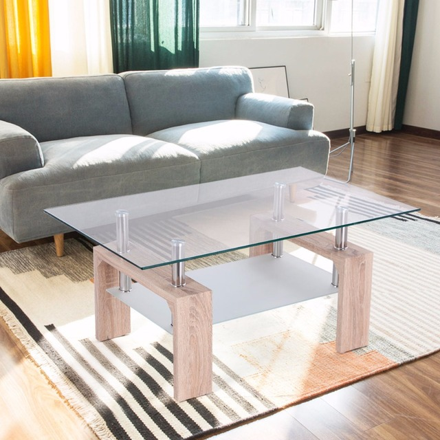 Goplus Rettangolare Tavolino Di Vetro con Ripiano In Legno Moderno ...