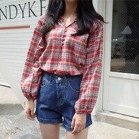 BOBOKATEER Long Sleeve Shirt Women Blouses Red Shirts Ladies Tops Plaid Blouse Camisas Blusas Mujer De