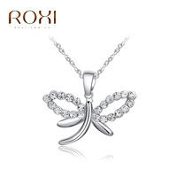 Foreign Trade Selling Pendant Jewelry Wholesale Authentic Austria Crystal Pendant Necklace High Grade Platinum Dragonfly