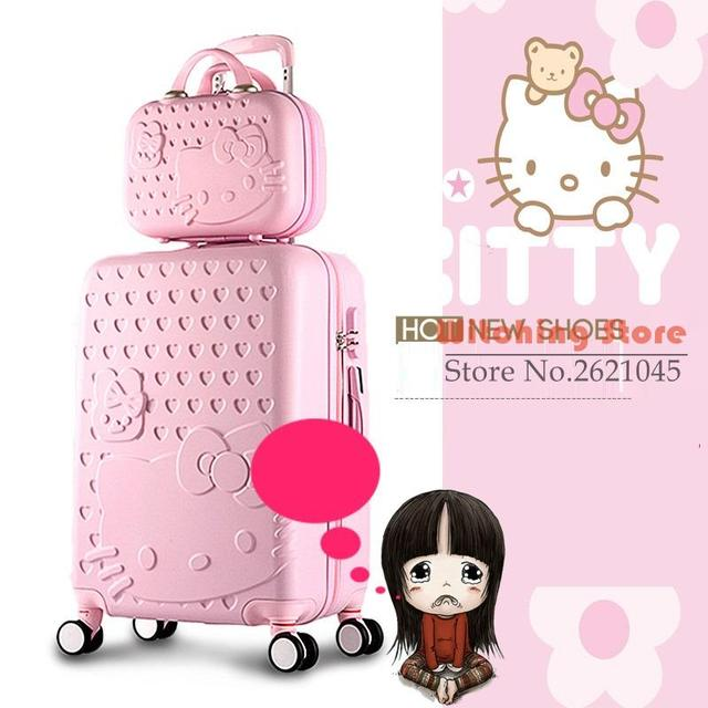 28 INCH 182022242628# Bos fashion pull rod universal wheel travel cartoon KT cat suitcase cute password check box FREE SHIPPING
