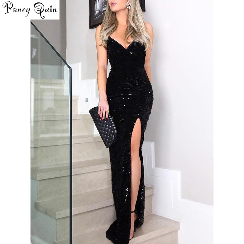 Sleeveless long sequin <font><b>dress</b></font> Women <font><b>high</b></font> <font><b>slit</b></font> spaghetti strap <font><b>dresses</b></font> <font><b>Sexy</b></font> V neck club party <font><b>dress</b></font> <font><b>Maxi</b></font> black sequined vestidos image