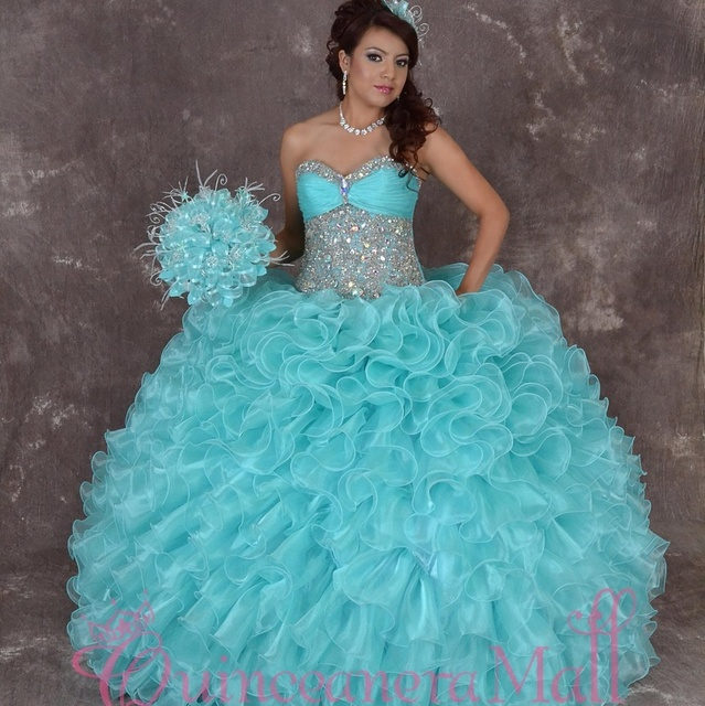 1e87a6974a Princess Blue Sweetheart Neckline Ball Gown Sweet 16 Dresses Pleated Organza  Beaded Floor Length Ruffled Quinceanera Party Dress