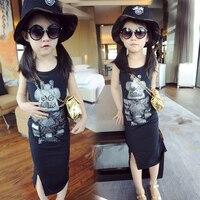 Teenager Girls Sequins Robot Dress Summer Stylish Dress For Girls Slit Dress Free Shipping