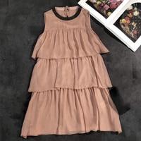 pink mini dress women summer 2018 o neck sleeveless dress cascading ruffles dress