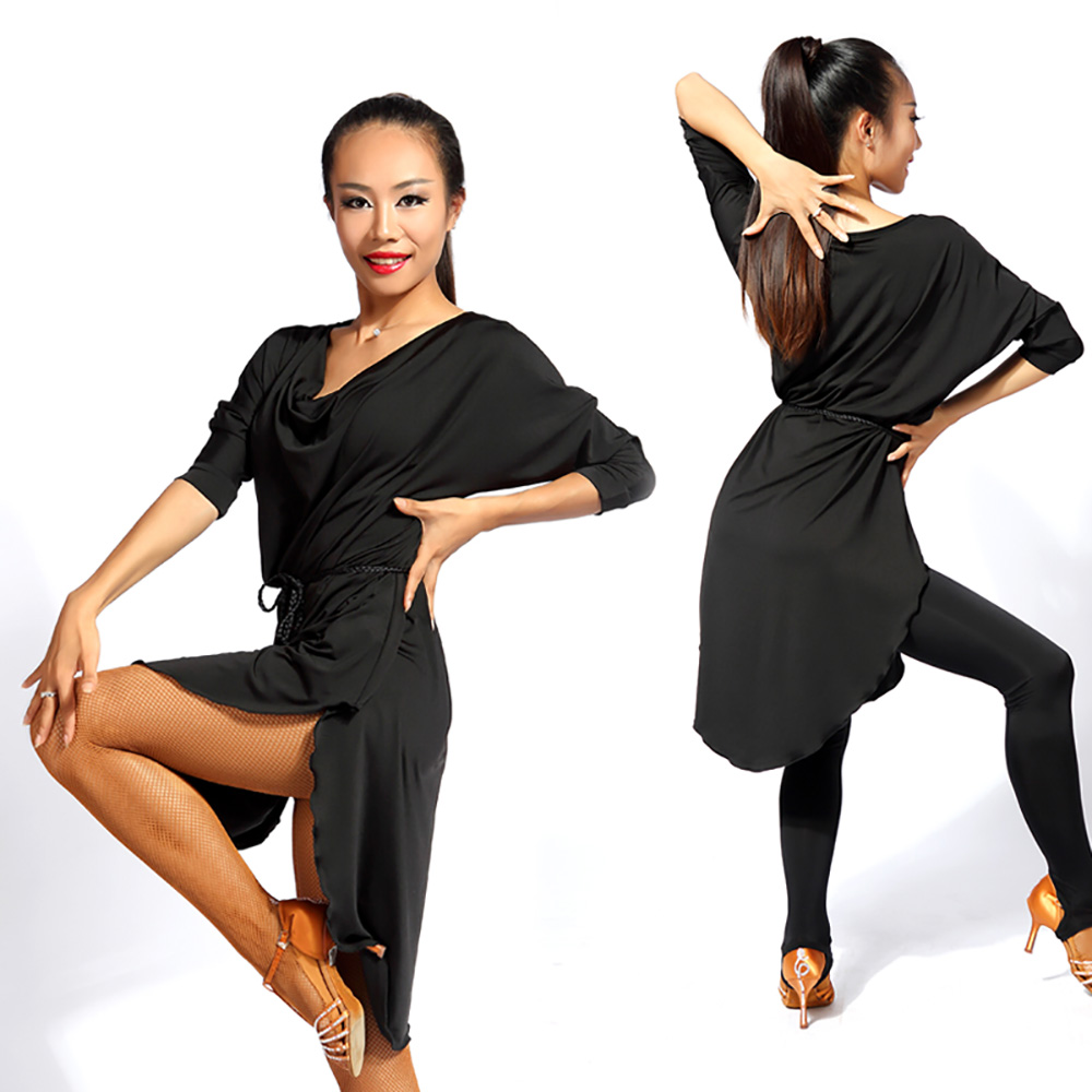 Picture of Fashion Latin Dancing Dresses For Ladies Black Red Green Square Skirts Woman Elastic Flamenco Stage Ballroom Garments Q11140