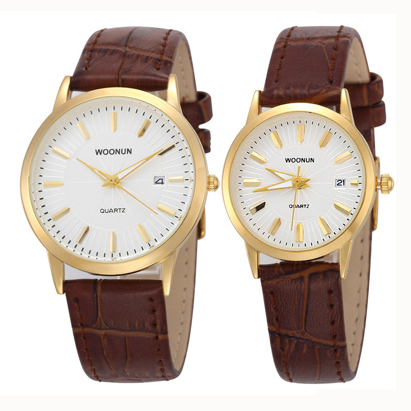 New WOONUN Top Brand Luxury Couple Watches For Lovers Fashion Lover Pair Watches Waterproof Shockproof Quartz Thin Watch Leather