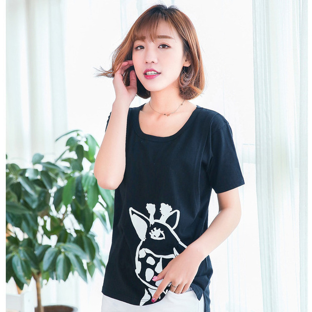0eb78bf88d Sale nursing tops pregnancy clothes short sleeve breastfeeding t shirts cute  giraffe print front long back short maternity tees