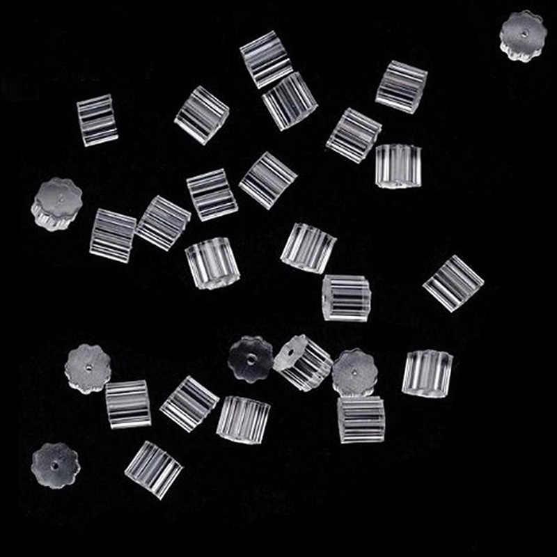 100 piezas de bala de silicona transparente pendiente conectar de Ronda pendiente tapones DIY joyería pendiente de material