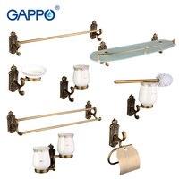 Gappo 8PC Set Bathroom Sets Towel Bar Paper Holder Toothbrush Holder Glass Shelf Toilet Brush Holder