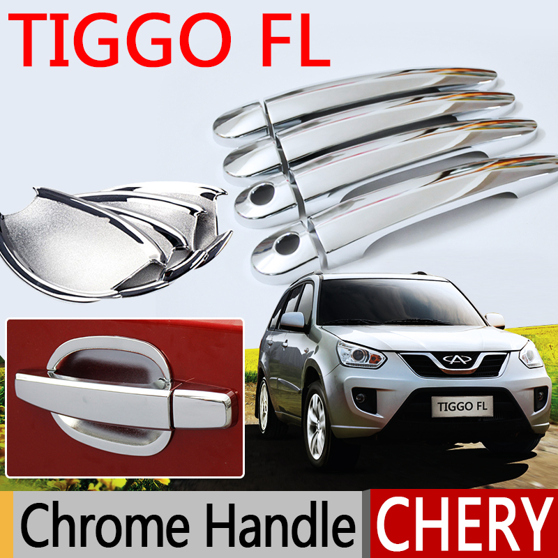Hot Sale For Chery Tiggo FL Accessories Chrome Door Handle 2011 2012 2013 2014 2015 Car Covers Stickers Car Styling for renault captur luxurious chrome door handle covers accessories stickers car styling 2013 2014 2015 2016
