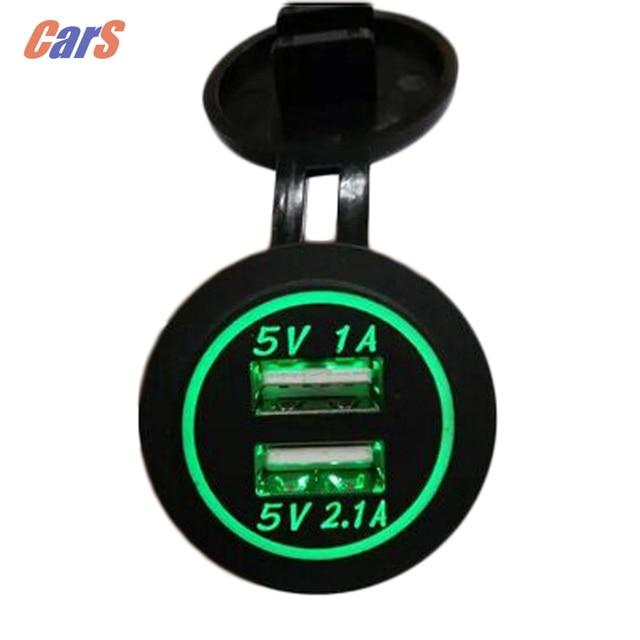 12V-24V 3 colors  Waterproof Car Charger Universal Dual USB Car Charger Cigarette Lighter LED digital display car styling