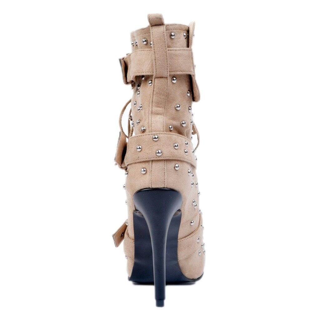 Plus De L'intention Beige Minces 4 Chaussures Rond Belles Taille Rivtes Talons Haute Élégant Bottines Femmes 15 Bout Xd128 Initiale La Femme Qualité Us arafpv