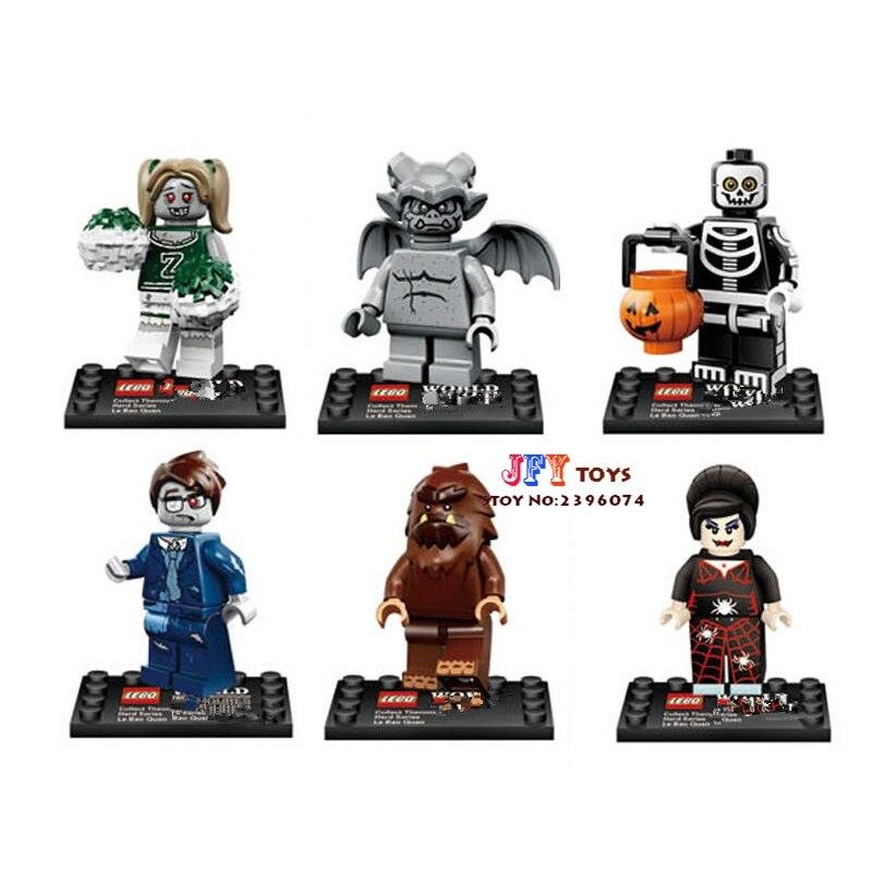 6pcs star wars super hero Cartoon Zombie The Walking Dead All Hallows Day building blocks model bricks toy for children juguetes худи print bar the walking dead