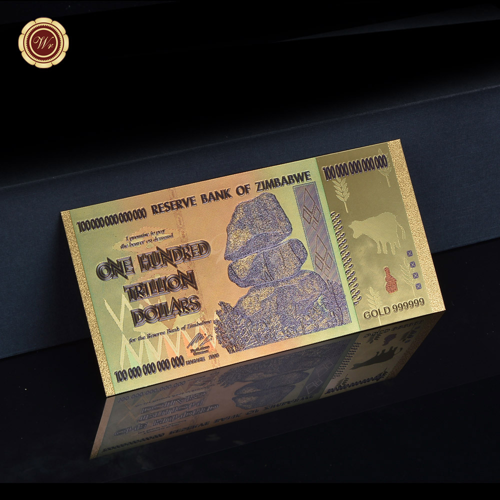 Zimbabwe Aaa Gold Planted 100 Trillion Colorful 24k Banknote Bill For Home Collection Gift
