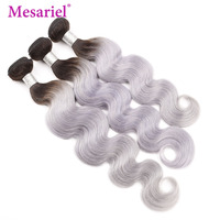 Mesariel Indian Hair Body Wave 1/3/4 Bundles Black Roots 1B/ Grey Ombre 100% Remy Hair Weave Human Hair Extensions 12 24 Inches