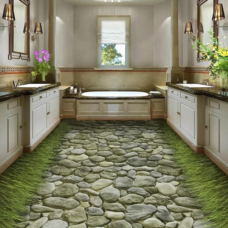 Pvc Wallpaper 3d Stereo Stone Road Grass Floor Mural Self Adhesive Waterproof Bathroom Kitchen Tiles Floor Sticker 3d Home Decor Wallpapers Aliexpress