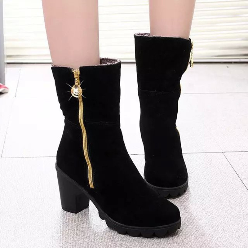 Women snow Winter Zip Side Ankle Boots Women Convertible Anti Chunky Heel Boots Female European And American Boots fashion shoe in Ankle Boots from Shoes