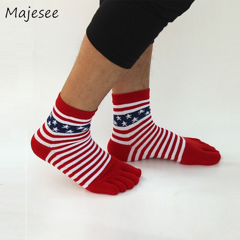 Men Five Fingers Toe Socks Funny Sock Crew Cotton Striped Mens Summer European Style Deodorant Breathable Healthy Care Male Soft