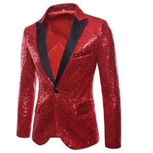 Image 3 - Gold Pailletten Smoking Blazer Männer Bühne Disco Nachtclub Herren Blazer Anzug Jacke Slim Fit One Button Shiny Glitter Blazer Masculino