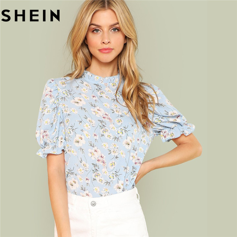 SHEIN Ruffle Trim Puff Sleeve Floral Blouse Women Clothes 2019 Casual Short Sleeve Ladies Tops Stand Collar Boho Summer Blouses|Blouses & Shirts| |  - title=