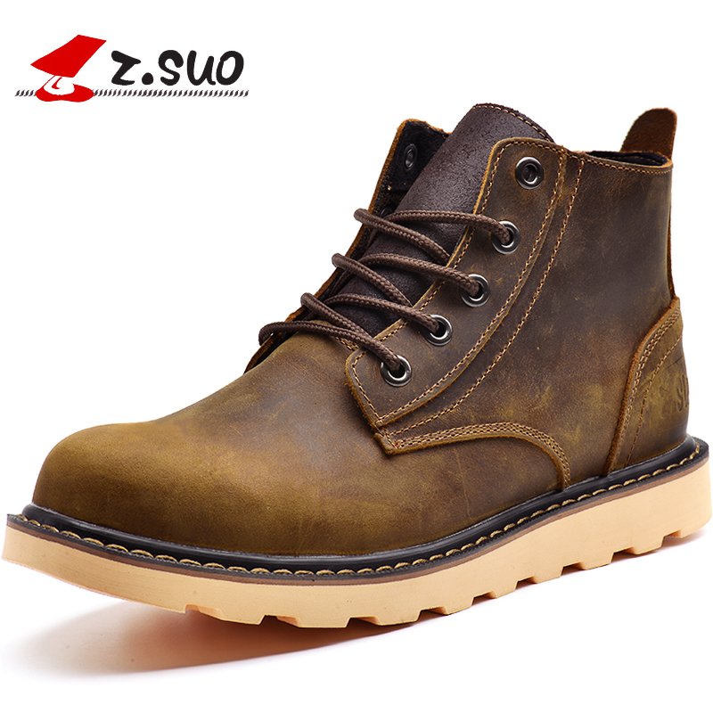 Z.SUO Brand Winter Warm Fur Men Boots High Quality Genuine Leather Boots Men Casual Tooling Shoes Working Fahsion Men Snow Boots