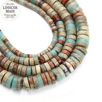 Dia 4 6 8 10mm Oblate Natural Stone Beads For Jewelry Making Loose Spacer Beads Fitting