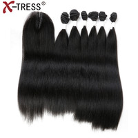 Natural Black Straight Hair Weaves 6 Bundles With Lace Closure High Temperature Synthetic Hair Weft Extensions 14 18 X TRESS