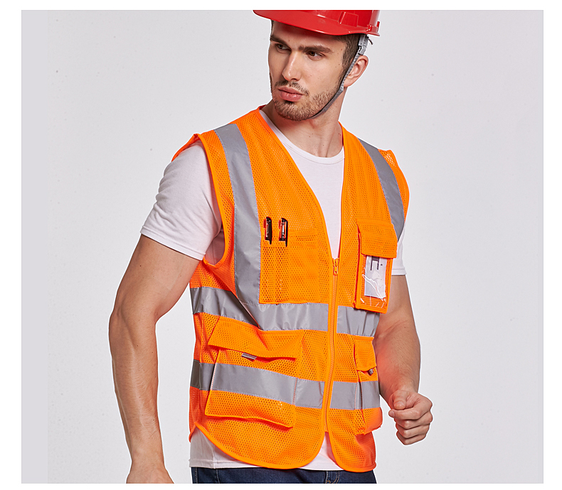 High Visibility ANSI 107   Fluorescent Orange Mesh  Safety Reflective  Vest With Pockets Company  Logo Printing Free Shipping