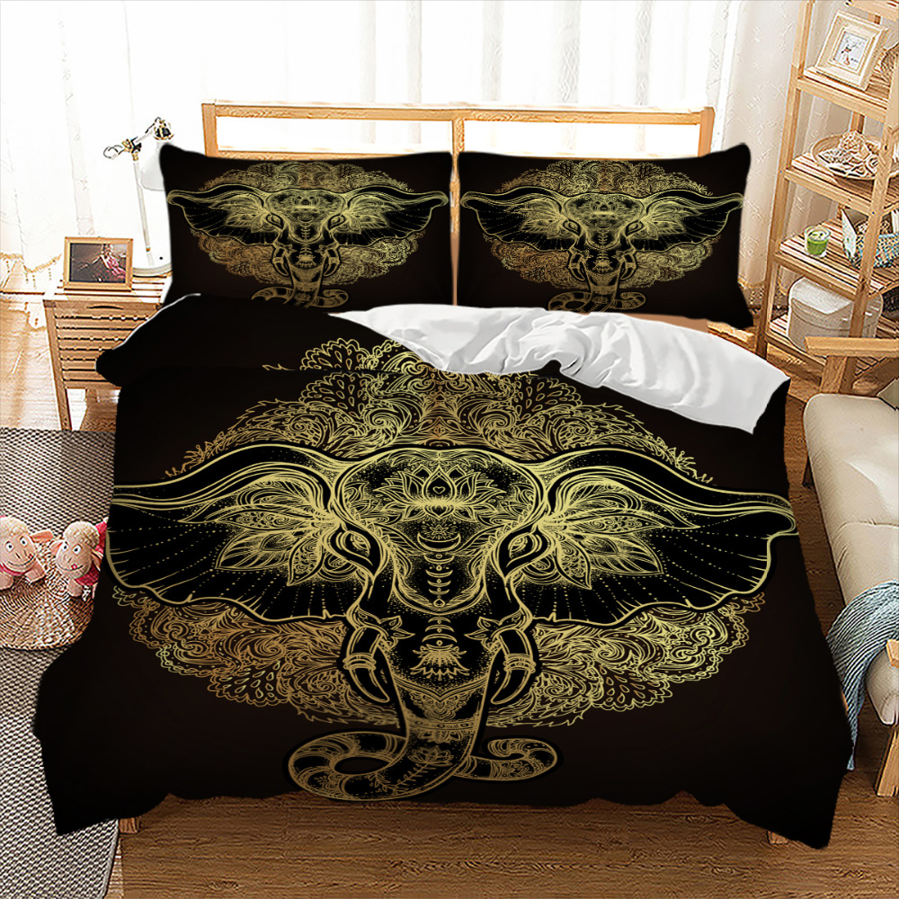 Tribal Elephant Bedding Set Boho Mandala Golden Design Ethnic Indian God Ganesha Duvet Cover Indian Symbol Bed Linen Set