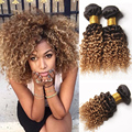 Ombre peruvian virgin hair deep wave Short Virgin Hair Two Tone Peruvian Human Hair Kinky Curly 8A Peruvian Virgin Hair 4 Bundle