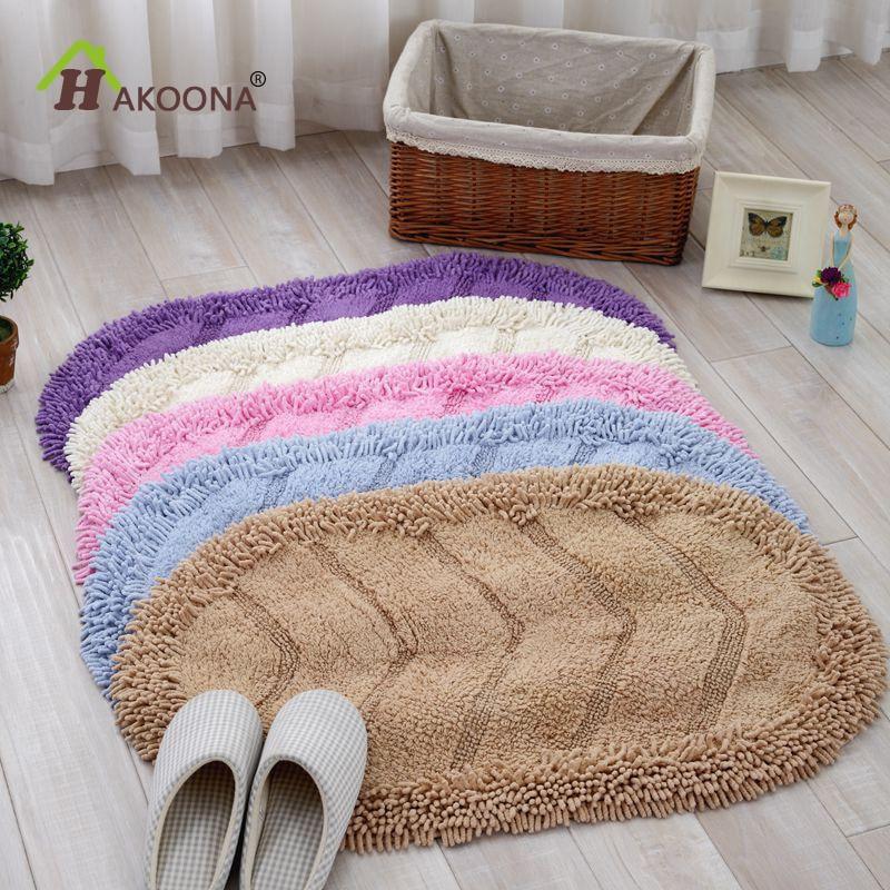 HAKOONA Oval Shaped Floor Mats  50*80cm Door No-Slip Rug Chenille Cotton Fabric Absorbent Water Foot Mats