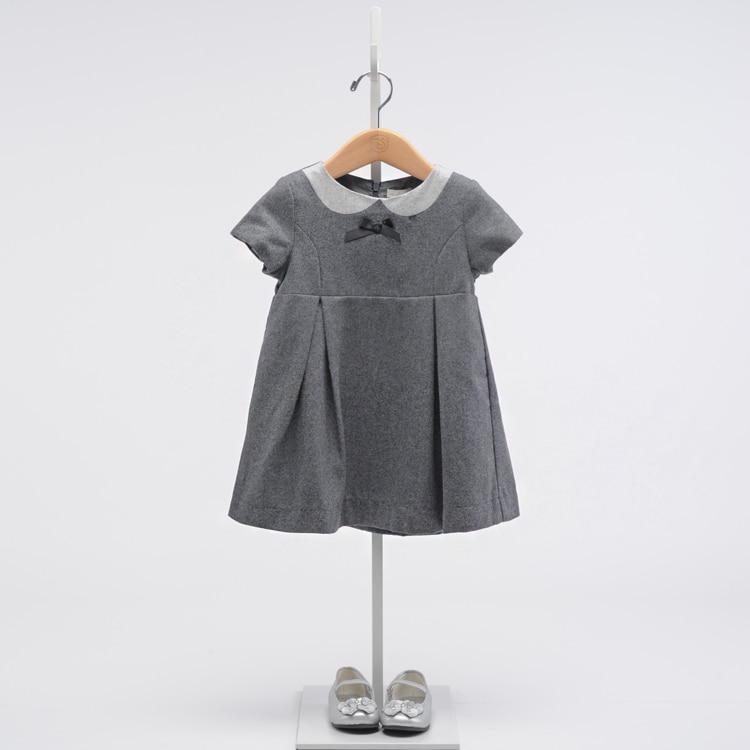 Girls grey wool wool dress 9a11c sleeved girls temperament lady Mao Nequn