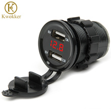 MN Dual USB Motorcycle Car Electronic Car Charger Adapter Cigarette Lighter Socket Charger + LED Digital Voltmeter Meter Monitor dual usb adapter charger digital voltmeter cigarette lighter sockets