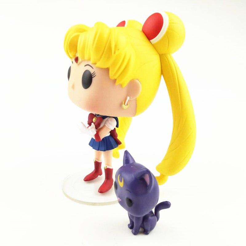 NEW 10cm Sailor Moon Luna action figure Bobble Head Q Edition no box for Car Decoration
