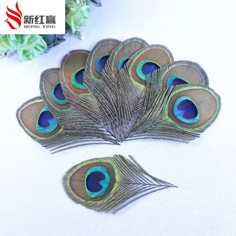 2016 true peacock feather trimmed peacock eye sewing wedding christmas decorations 8 12cm 50 bag